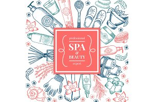 Spa salon background pictures. Different natural organic pictures in doodle style