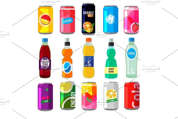 Fizzy Drinks In Glass Bottles Colored Vector Pictures