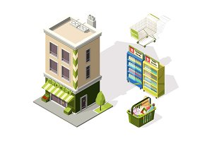 Isometric tools for supermarket. 3d illustrations of shopping basket