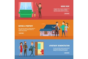 Business concept illustrations set. Real estate agents selling different buildings to happy family couples