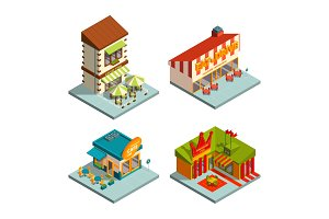 Restaurants and coffee houses. Isometric buildings