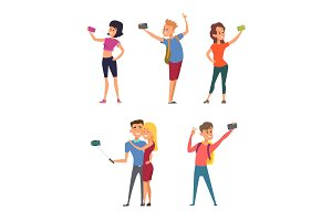 Different funny characters make selfie on their smartphones