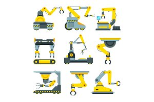 Robotic hands for machine industry. Illustrations of mechanical industrial equipment
