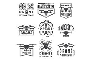 Monochrome labels with different quadrocopters