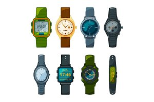 Classic and sport hand watches for men and women. Pictures in cartoon style