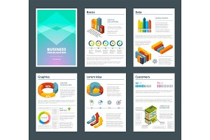 Design of annual reports with colored pictures of charts