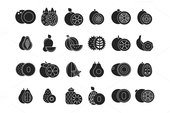 Vector Monochrome Illustrations Of Different Tropical Healthy Fruits