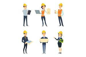 Industrial workers. Male and female architect and engineering