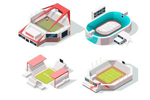 Exterior of stadium buildings hockey, soccer and tennis. Isometric pictures