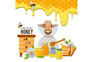 Vector poster template of apiary theme. Illustrations of bee an honey