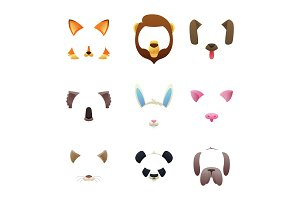 Animal faces for video or photo filters