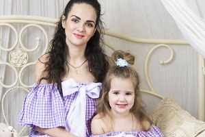 Familylook in violet dress