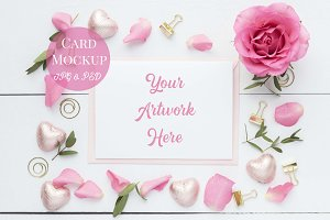 Card Mockup- Romantic Pink Roses