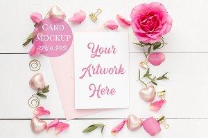 Card Mockup - Pink Roses