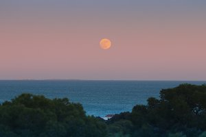 The moon over the sea. Spain