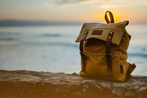 Yellow tourist backpack