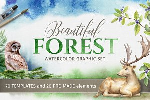 Beautiful Forest Watercolor Clip art