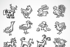 Farm animals sketch set