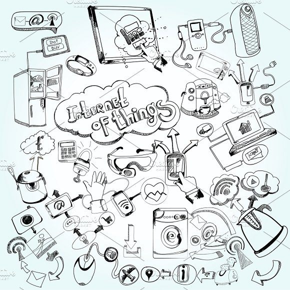 Internet of things doodle icons set