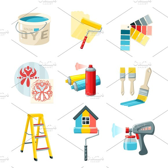Painting work icons set