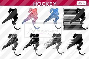 Silhouettes of a hockey players. Set