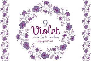 Violet seamless brushes and wreaths