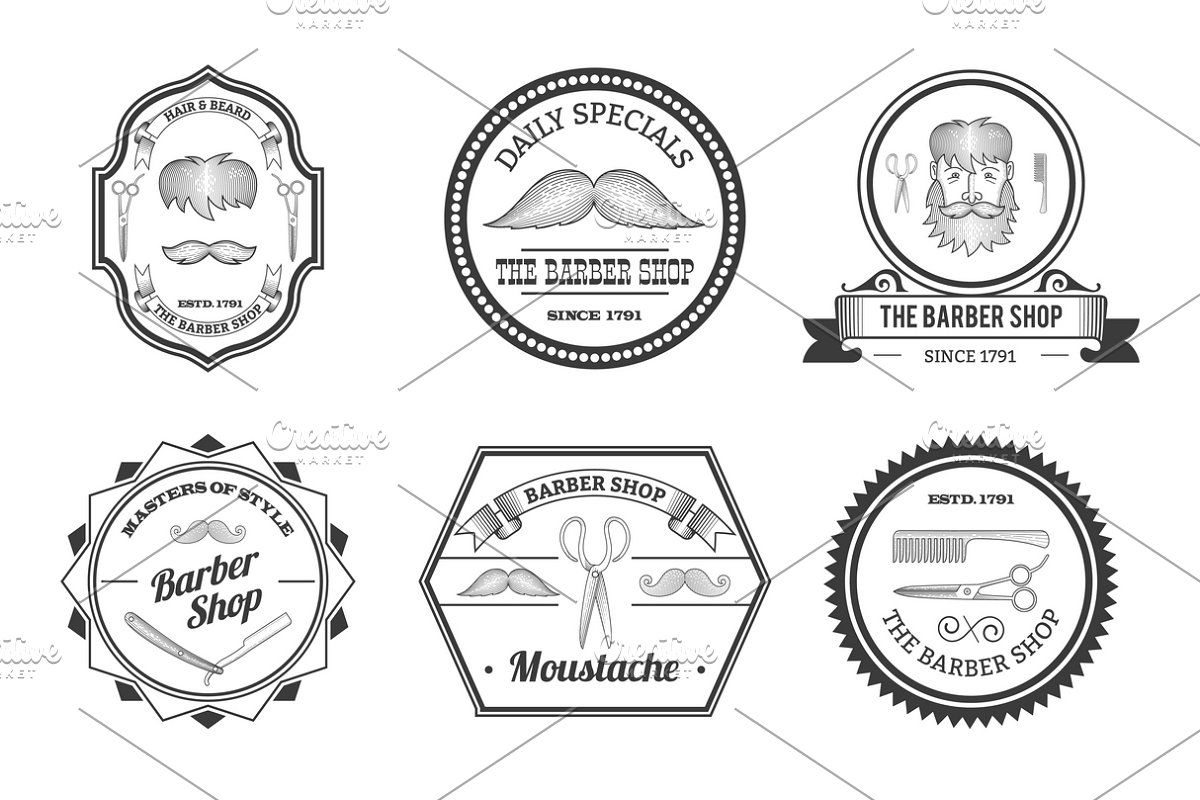 Barber shop emblems set