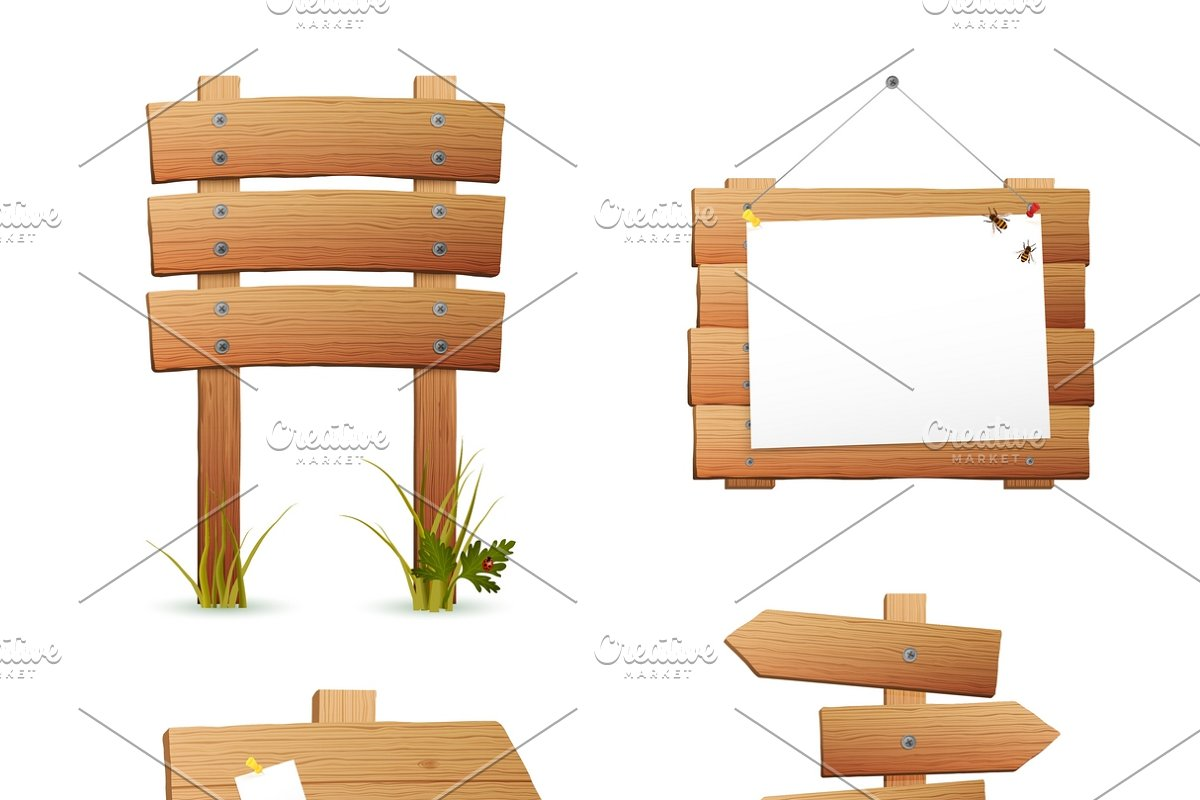 Wooden information signs set in Illustrations - product preview 8