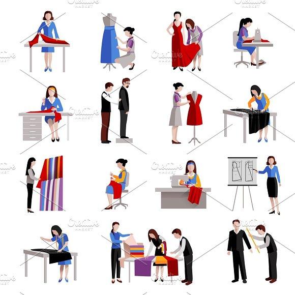 Dressmaker icons set in Graphics
