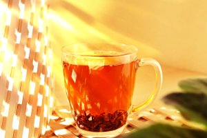 Cup glass of black tea