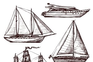 Hand drawn retro sail ships