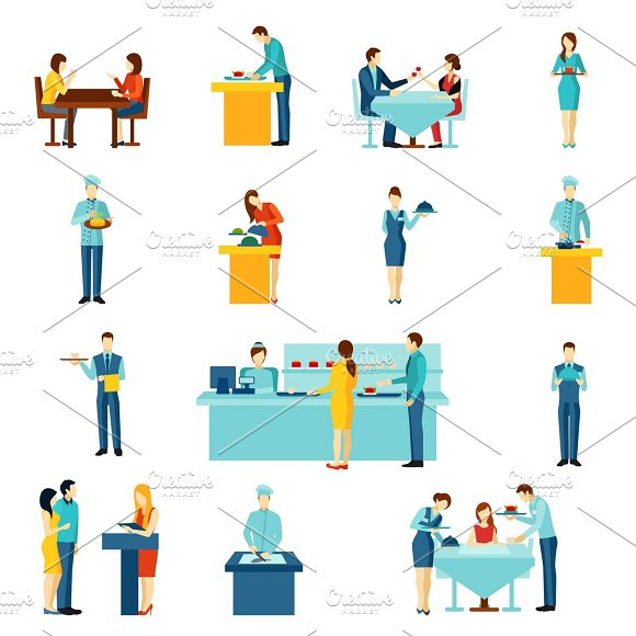 Catering service flat icons set