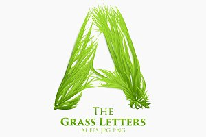 Vector Grass Letters Set