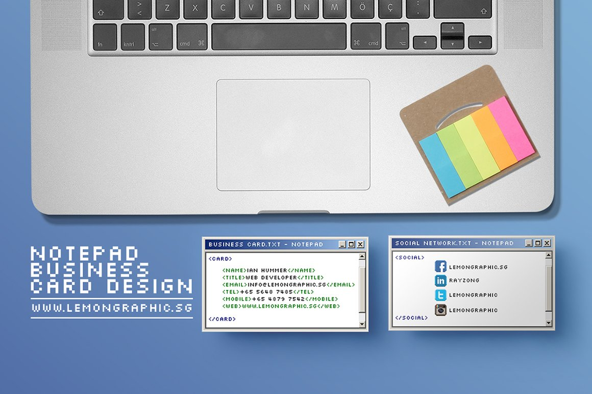 Notepad programmer business card ~ Business Card Templates ...