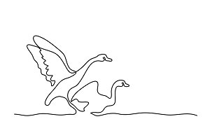 Continuous one line drawing. Flying Swans logo