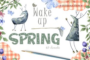 Wake Up Spring Watercolor Deer