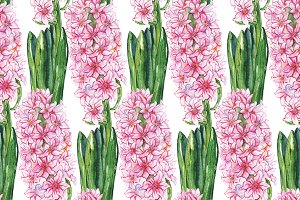 Watercolor hyacinth flower pattern