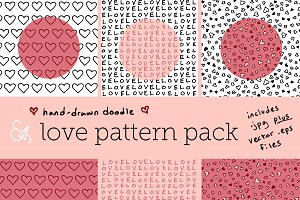 Hand-Drawn Doodle Love Pattern Pack