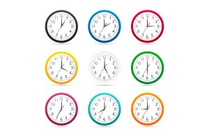 Wall clocks with different colors design icon isolated on white background.