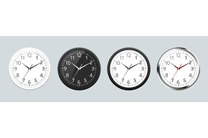 Set of Realistic classic black, white and silver round wall clock