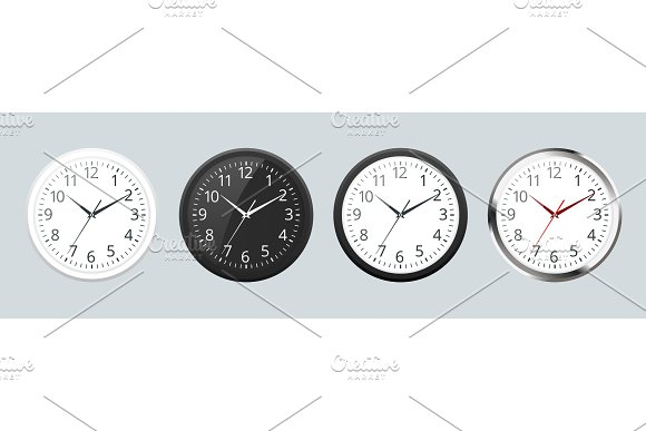 Set Of Realistic Classic Black White And Silver Round Wall Clock