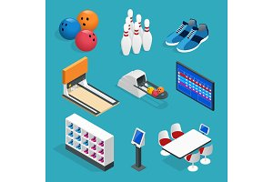 Isometric Bowling realistic icons set with game equipment, cafe tables, shelves for shoes, skittles, and balls isolated