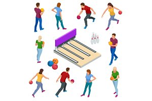 Isometric Bowling realistic icons set with game equipment, cafe tables, shelves for shoes, skittles, and balls isolated vector illustration. People, leisure, sport and entertainment