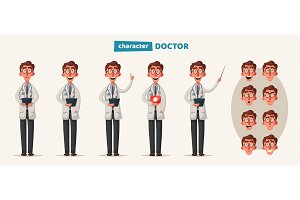Smart doctor. Funny character design
