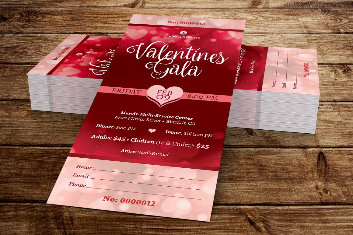 Red Hearts Valentines Gala Ticket ~ Card Templates ~ Creative Market