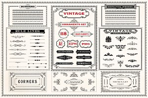 Vintage Ornaments Set - AI, EPS, PNG