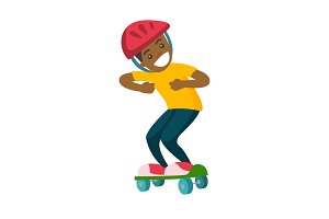 Happy african-american boy riding a skateboard.