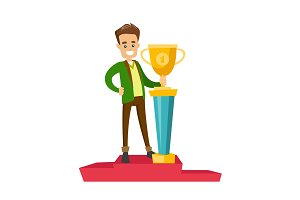 Man standing on the pedestal with business award.