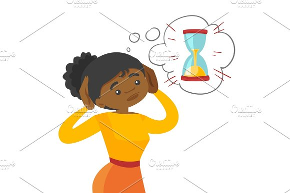 Afraid african business woman looking at hourglass