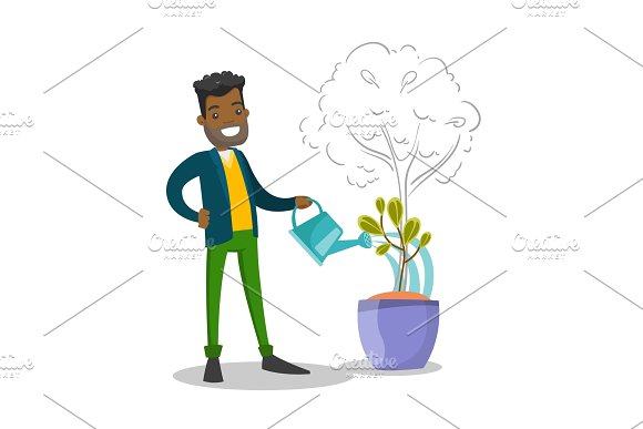 African businessman watering small growing tree.